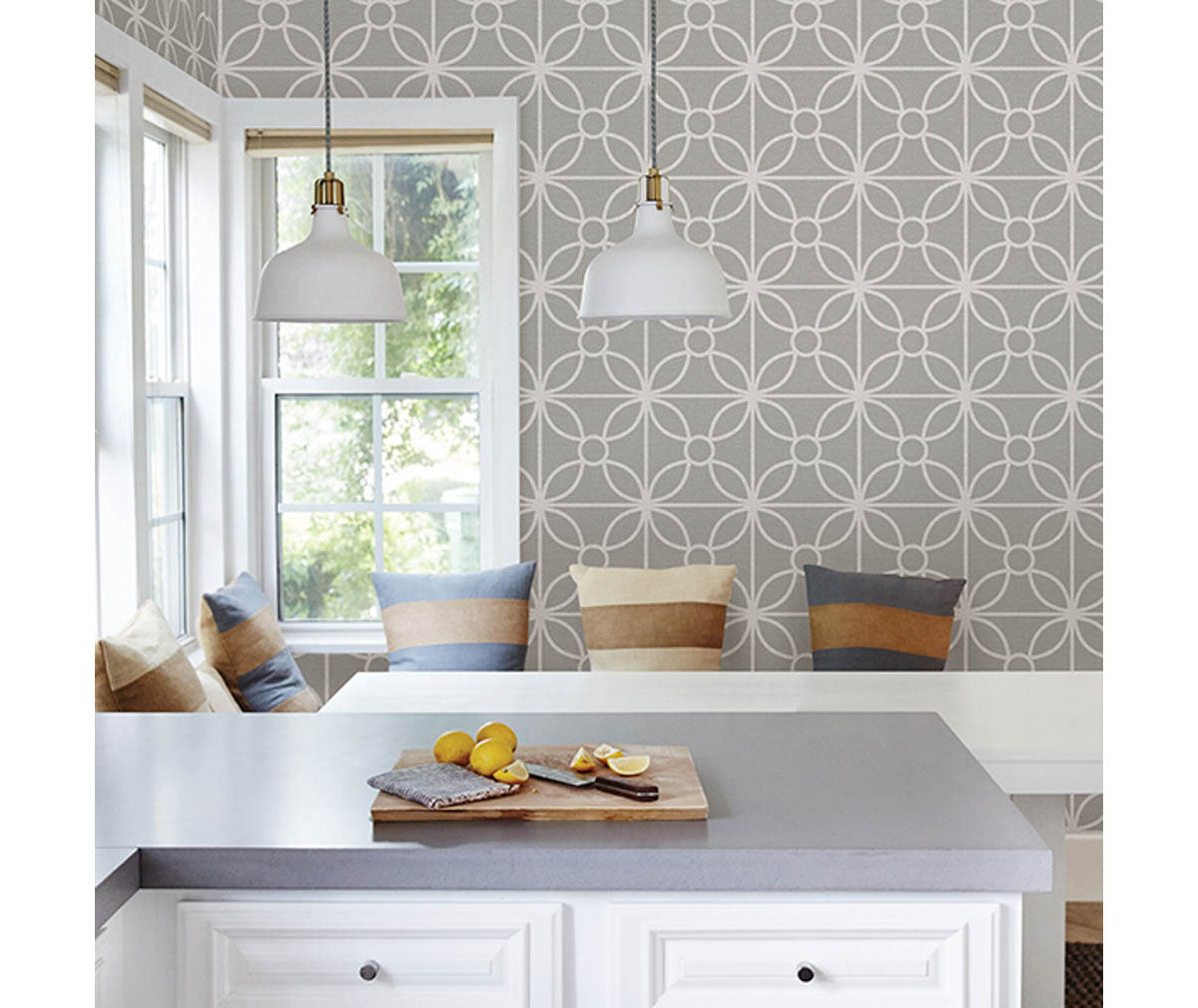 Savvy Grey Geometric Wallpaper Room Mock Up Available At Barrydowne Paint