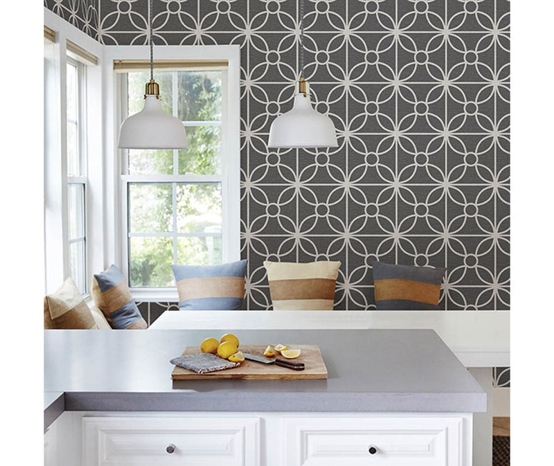 Savvy Black Geometric Wallpaper available at Barrydowne Paint