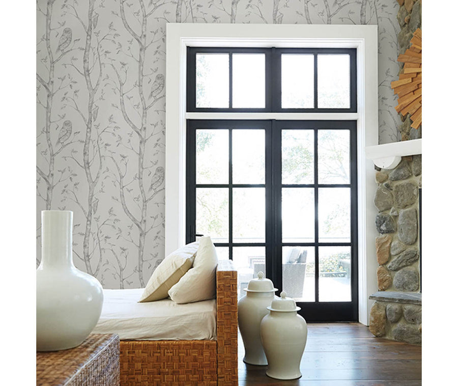 Neptune Grey Forest Wallpaper available at Barrydowne Paint