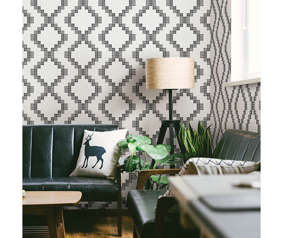Mosaic Black Grid Wallpaper available at Barrydowne Paint