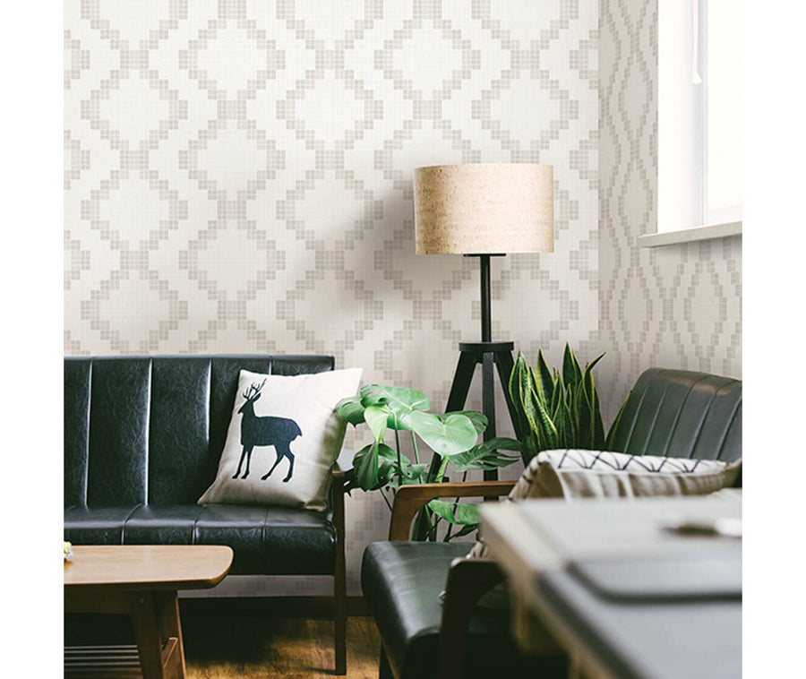 Mosaic Taupe Grid Wallpaper available at Barrydowne Paint