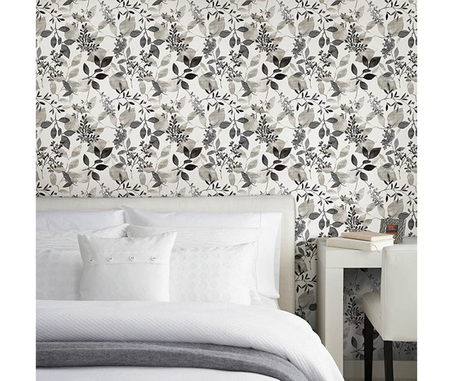 Gossamer Black Botanical Wallpaper available at Barrydowne Paint