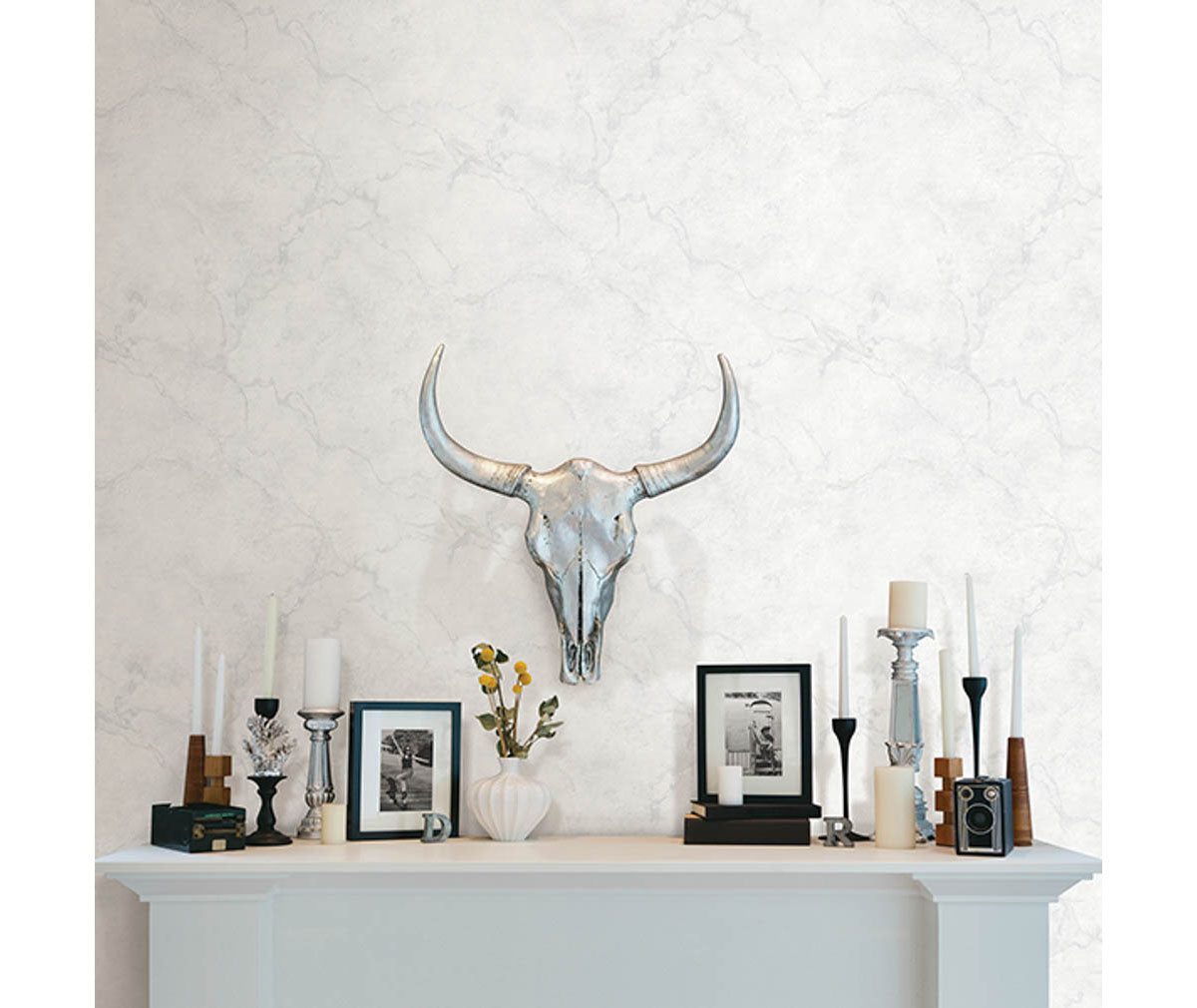 Innuendo White Marble Wallpaper Barrydowne Paint