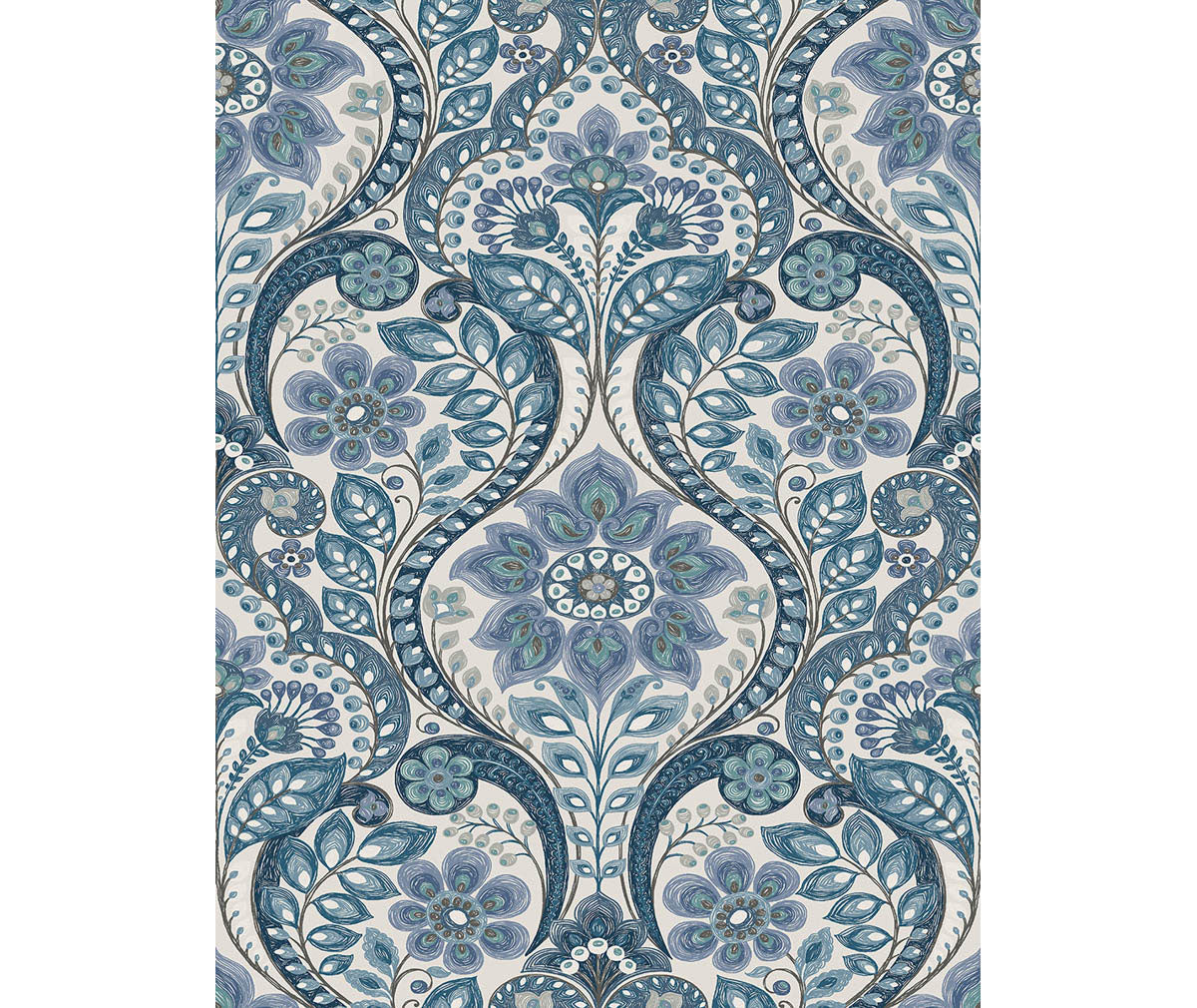 Night Bloom Blue Damask Wallpaper Available At Barrydowne Paint