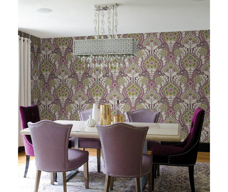 Night Bloom Grey Damask Wallpaper available at Barrydowne Paint