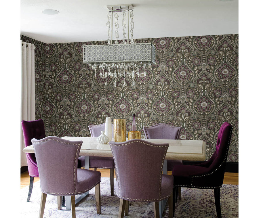 Night Bloom Charcoal Damask Wallpaper available at Barrydowne Paint