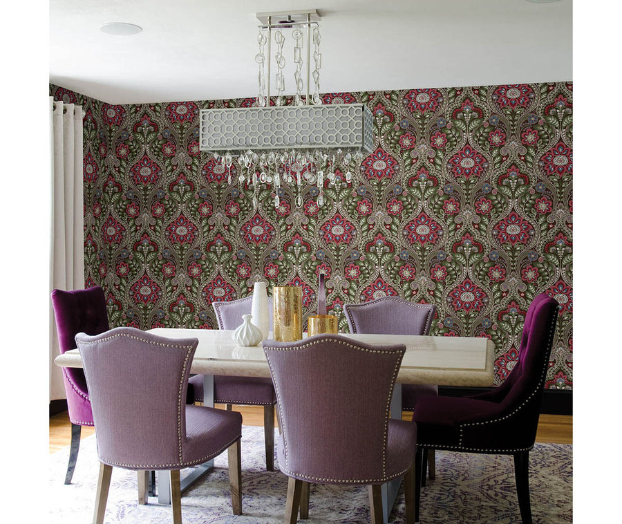 Night Bloom Chocolate Damask Wallpaper available at Barrydowne Paint