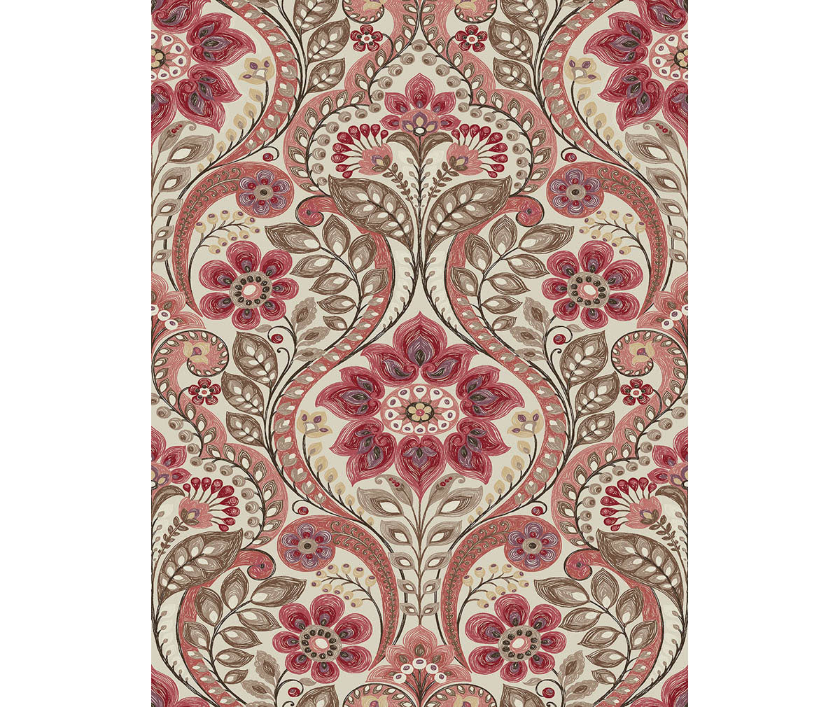 Night Bloom Coral Damask Wallpaper available at Barrydowne Paint