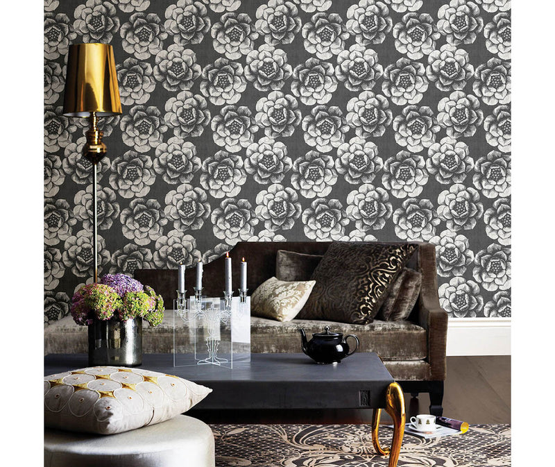 Fanciful Black Floral Wallpaper available at Barrydowne Paint