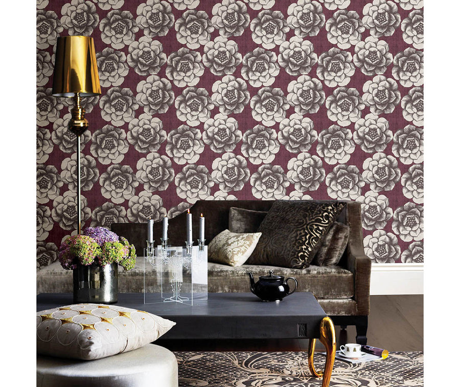 Fanciful Plum Floral Wallpaper available at Barrydowne Paint
