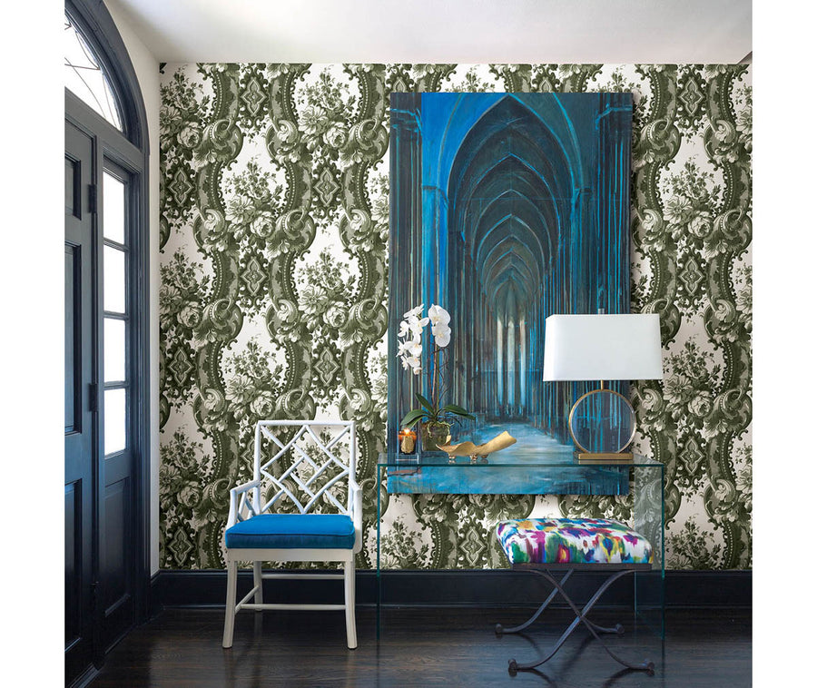 Dreamer Green Damask Wallpaper available at Barrydowne Paint