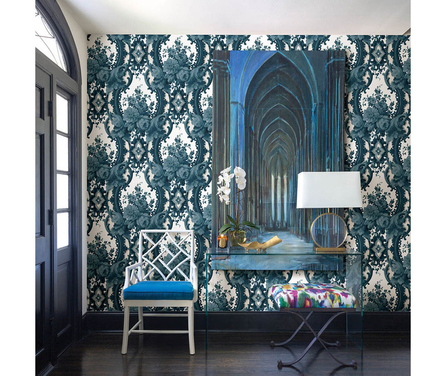 Dreamer Blue Damask Wallpaper available at Barrydowne Paint