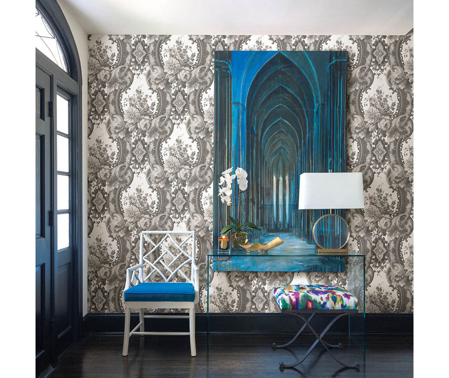 Dreamer Grey Damask Wallpaper available at Barrydowne Paint