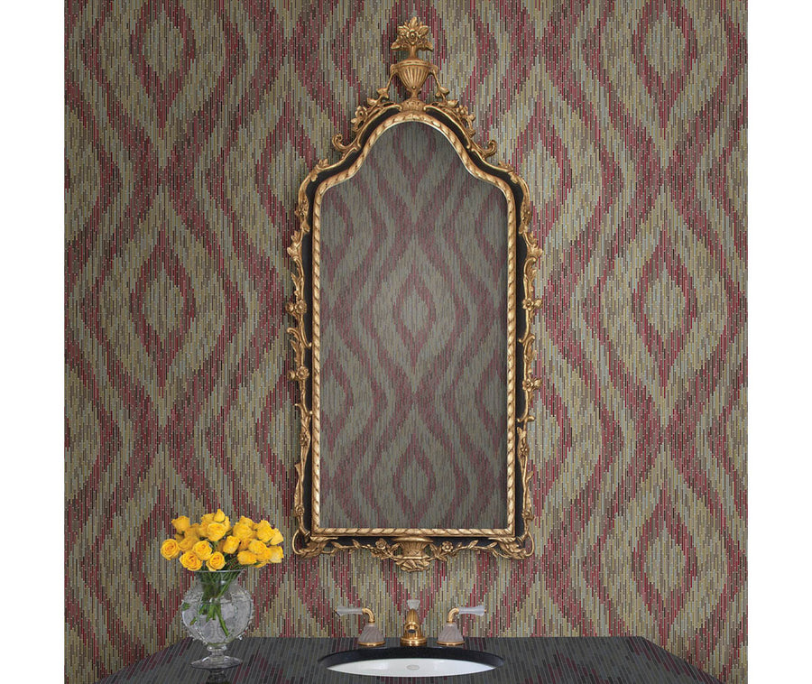 Ethereal Red Ogee Wallpaper available at Barrydowne Paint