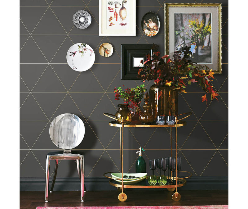 Twilight Grey Geometric Wallpaper available at Barrydowne Paint