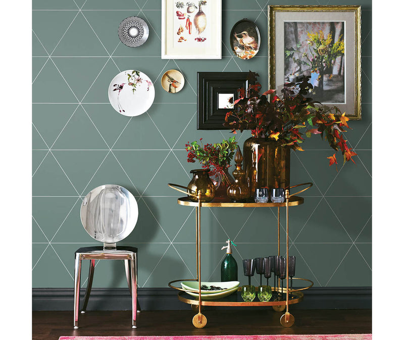 Twilight Green Geometric Wallpaper available at Barrydowne Paint