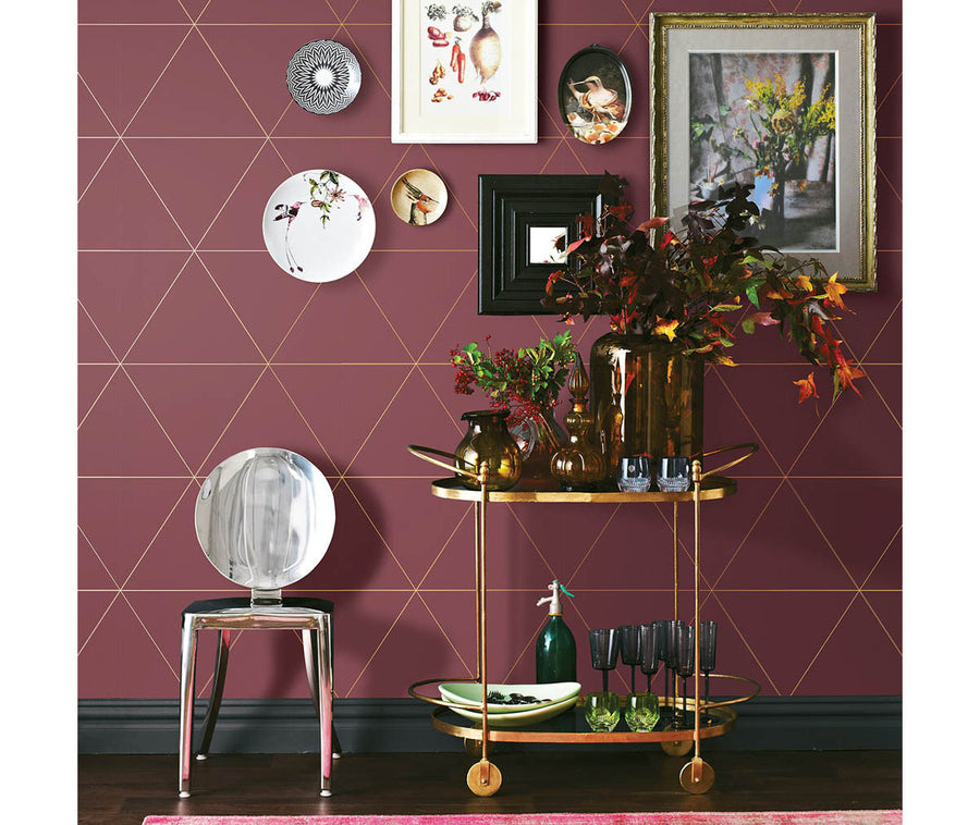 Twilight Red Geometric Wallpaper available at Barrydowne Paint