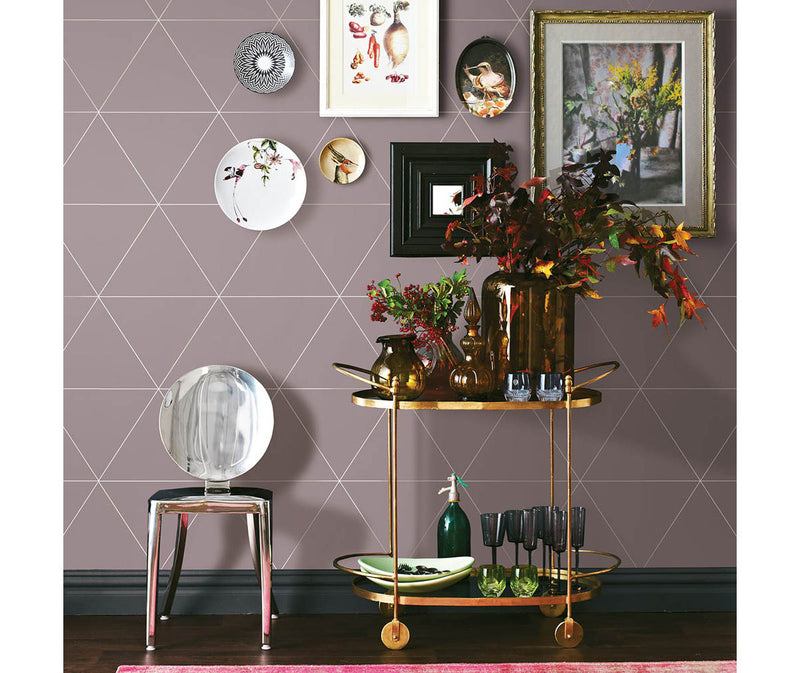 Twilight Purple Geometric Wallpaper available at Barrydowne Paint