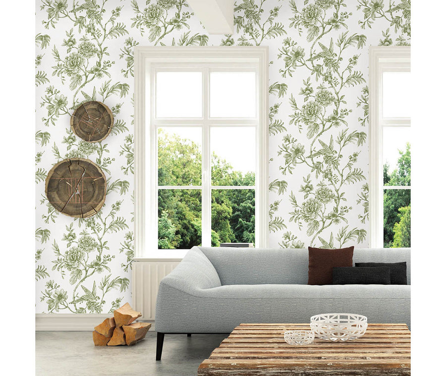 Jessamine Green Floral Trail Wallpaper available at Barrydowne Paint
