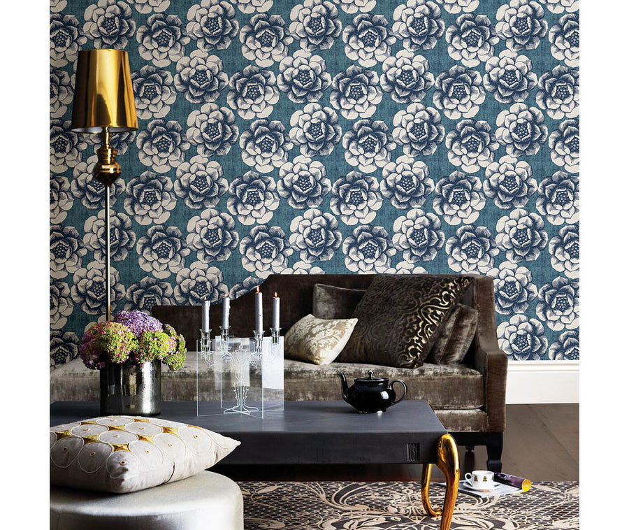 Fanciful Blue Floral Wallpaper available at Barrydowne Paint