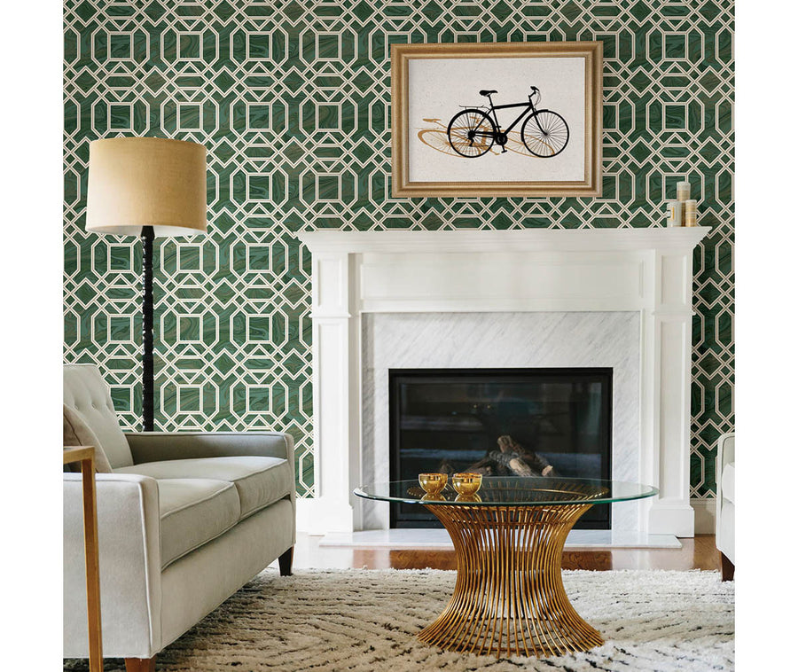 Daphne Green Trellis Wallpaper available at Barrydowne Paint
