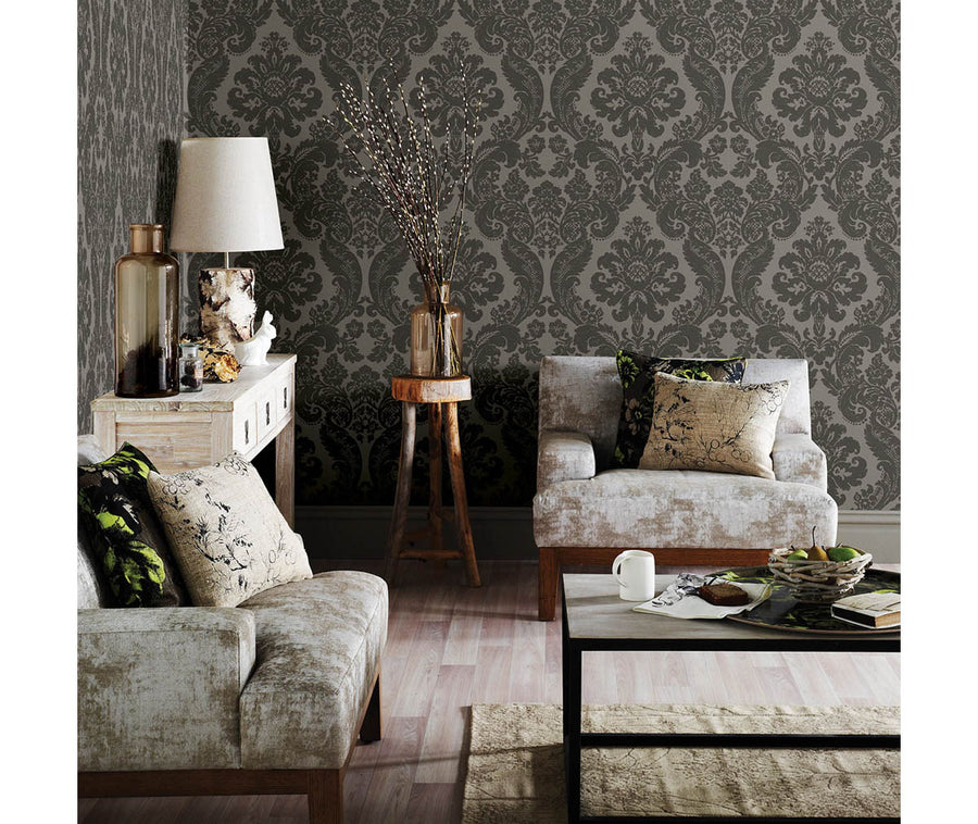 Shadow Grey Damask Wallpaper available at Barrydowne Paint
