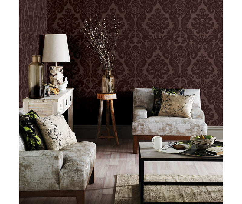 Shadow Merlot Damask Wallpaper available at Barrydowne Paint