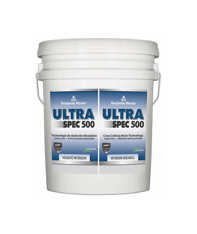Benjamin Moore Ultra Spec 500 Interior Eggshell Pail available at Barrydowne Paint in Sudbury.