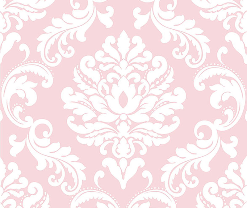 Pink damask peel and stick wallpaper from Barrydowne Paint.