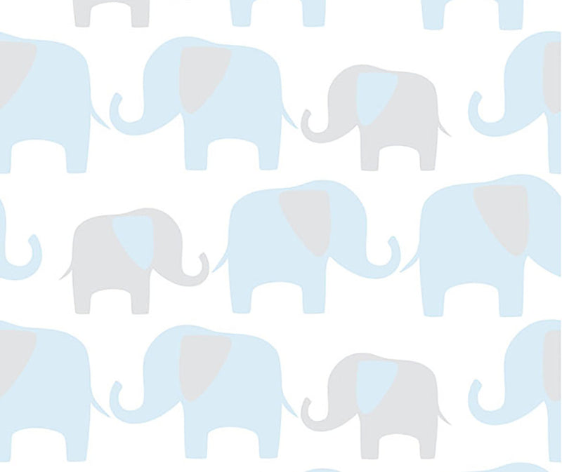 Blue elephant parade peel and stick wallpaper from Barrydowne Paint.
