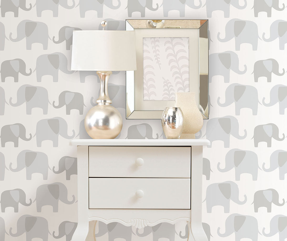 Gray elephant parade peel and stick wallpaper from Barrydowne Paint.