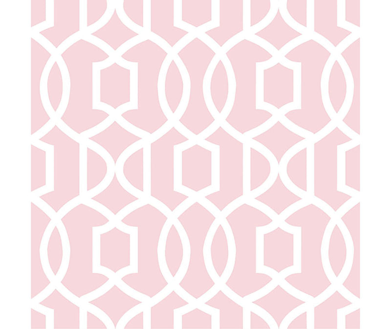Pink geometric wallpaper from peel & stick NuWallpaper available at Barrydowne Paint.