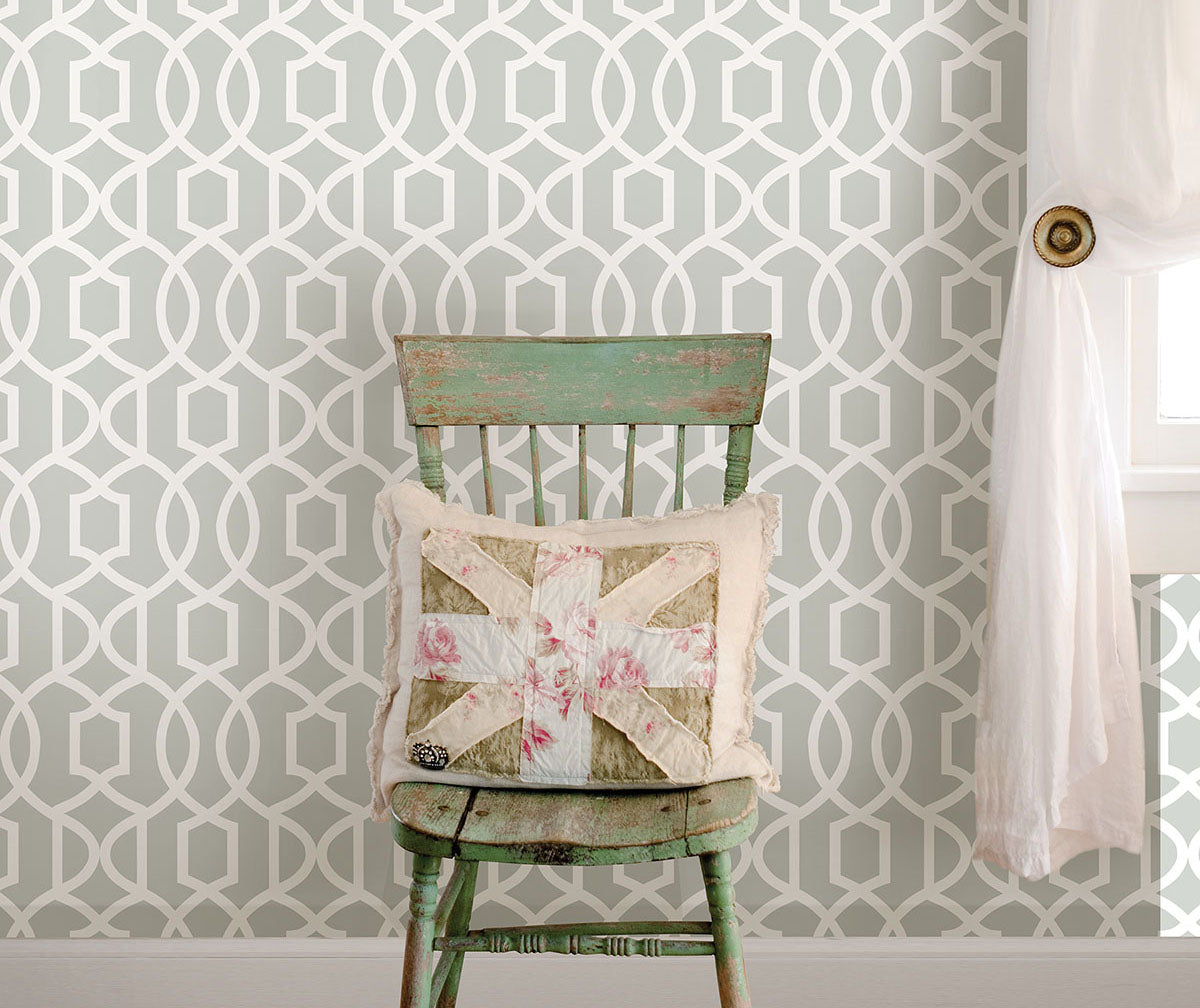 Gray, art deco geometric wallpaper from peel & stick NuWallpaper available at Barrydowne Paint.