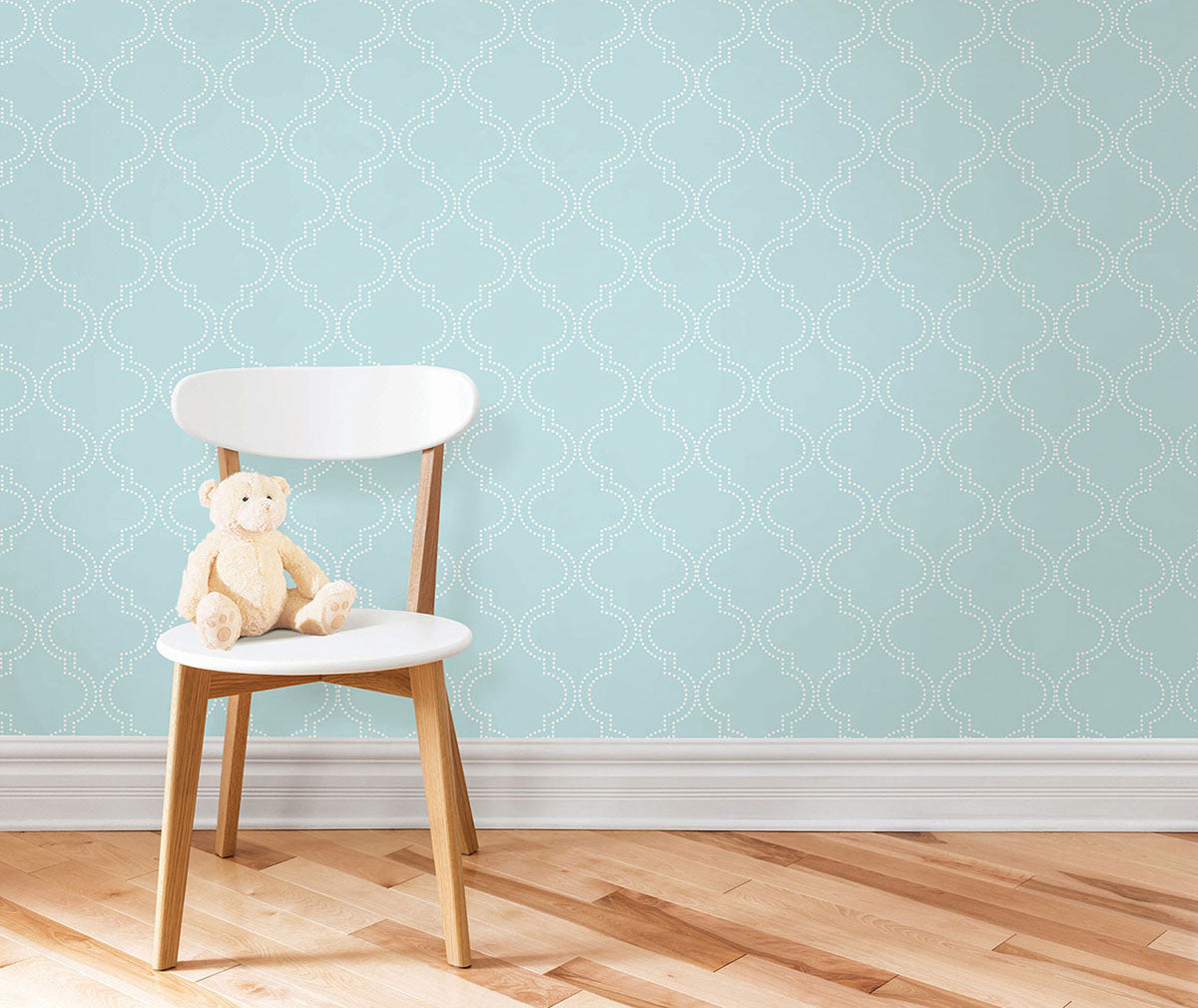 Blue Quatrefoil wallpaper from peel & stick NuWallpaper available at Barrydowne Paint.