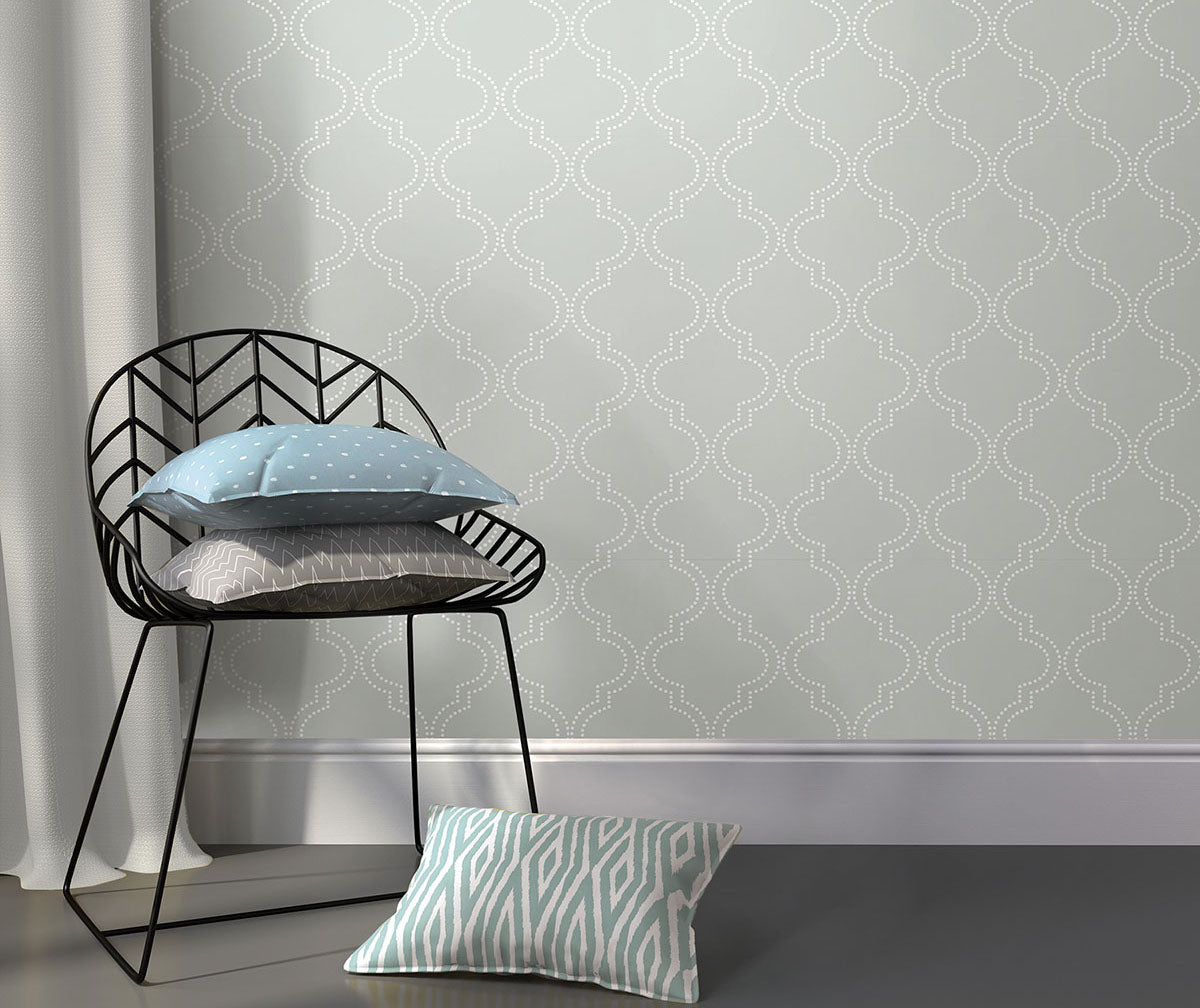 Grey wallpaper from peel & stick NuWallpaper available at Barrydowne Paint..