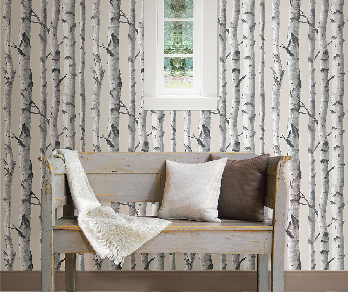 Birch tree wallpaper from peel & stick NuWallpaper available at Barrydowne Paint..
