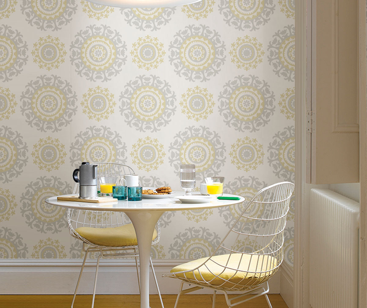 Embrace the beauty of warm yellows with NuWallpaper from Barrydowne Paint.