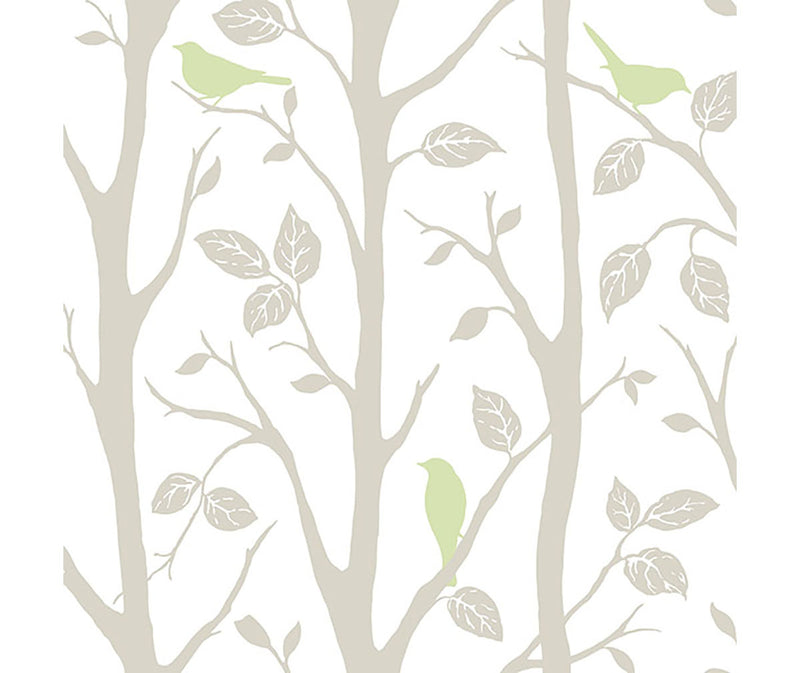 Green and grey nature themed peel and stick wallpaper at Barrydowne Paint.