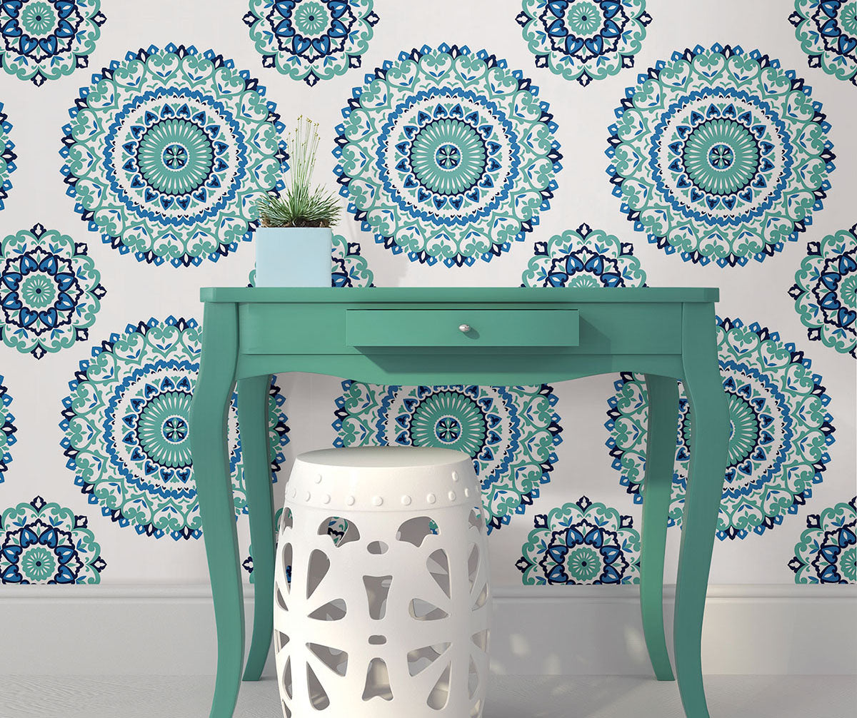 Boho chic wallpaper to add bold pops of colour from Barrydowne Paint.