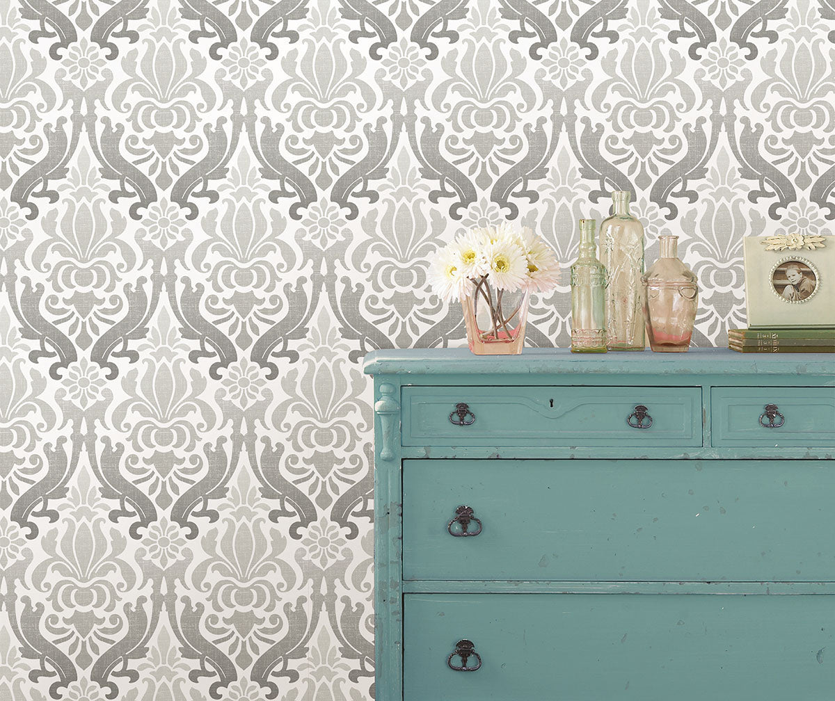 Damask wallpaper with  a subtle ombre design from Barrydowne Paint