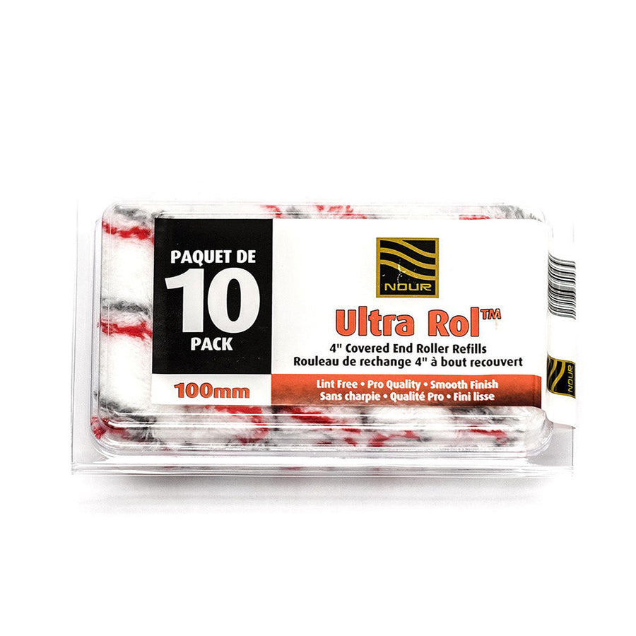 "Nour Ultra Rol™ 4"" Roller Refills - Red-Grey Stripe (10 pack)"