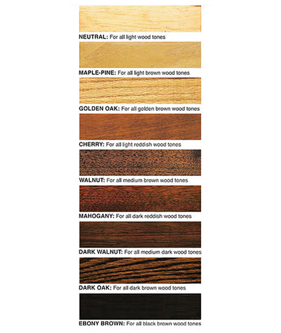 Howard's Restor-A-Finish in neutral, maple pine, golden oak, walnut, cherry, mahogany, dark walnut, dark oak, and ebony brown