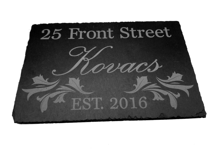 Personalized slate house sign
