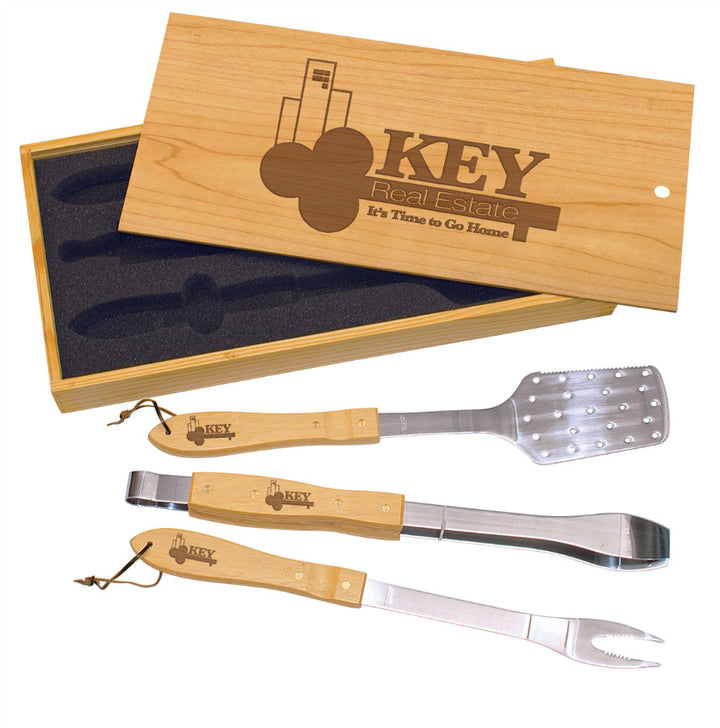 Wooden BBQ 3 Piece Set with Box