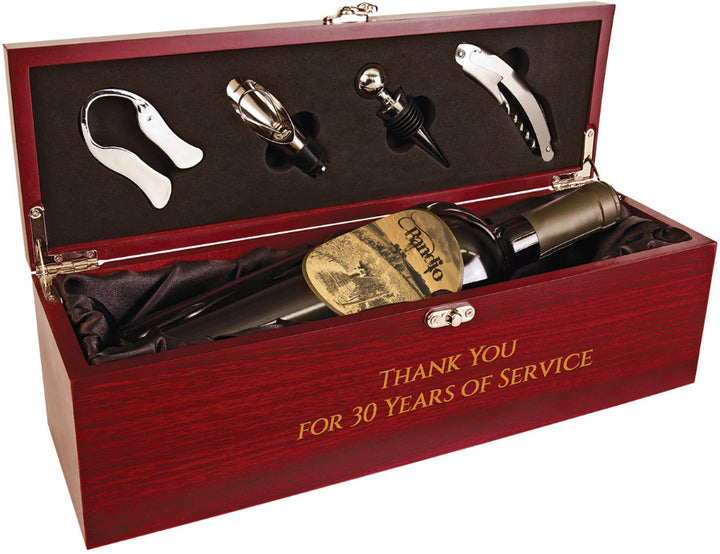 Rosewood Finish Single Wine Box with Tools & Black Lining