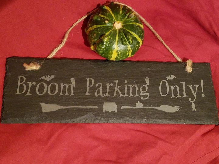 Slate Sign Halloween Broom Parking Only!