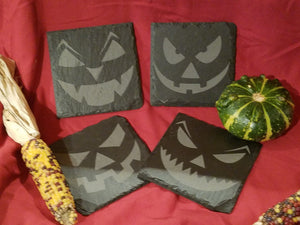 Halloween Jack-O-Lantern Coasters Set of 4 Slate Coasters