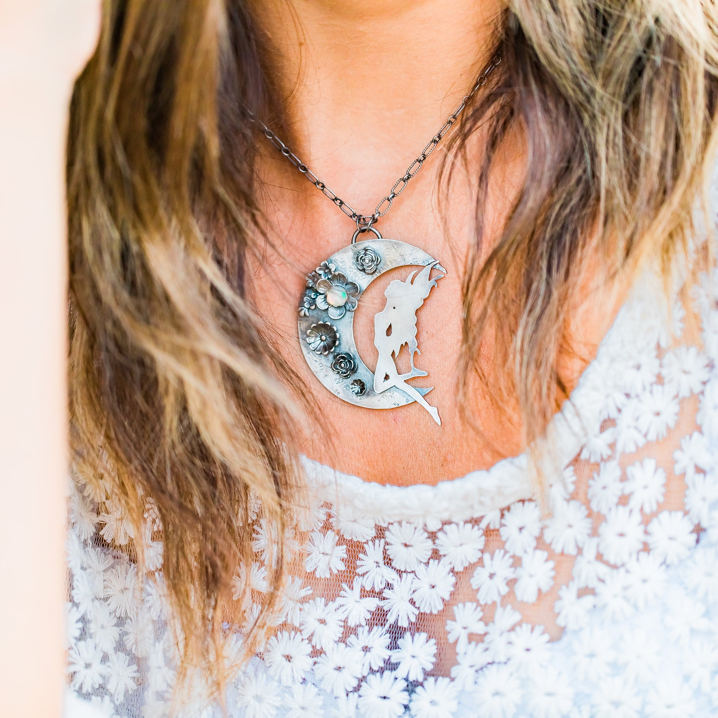 Fairy on the Moon Statement Necklace with Natural Opal