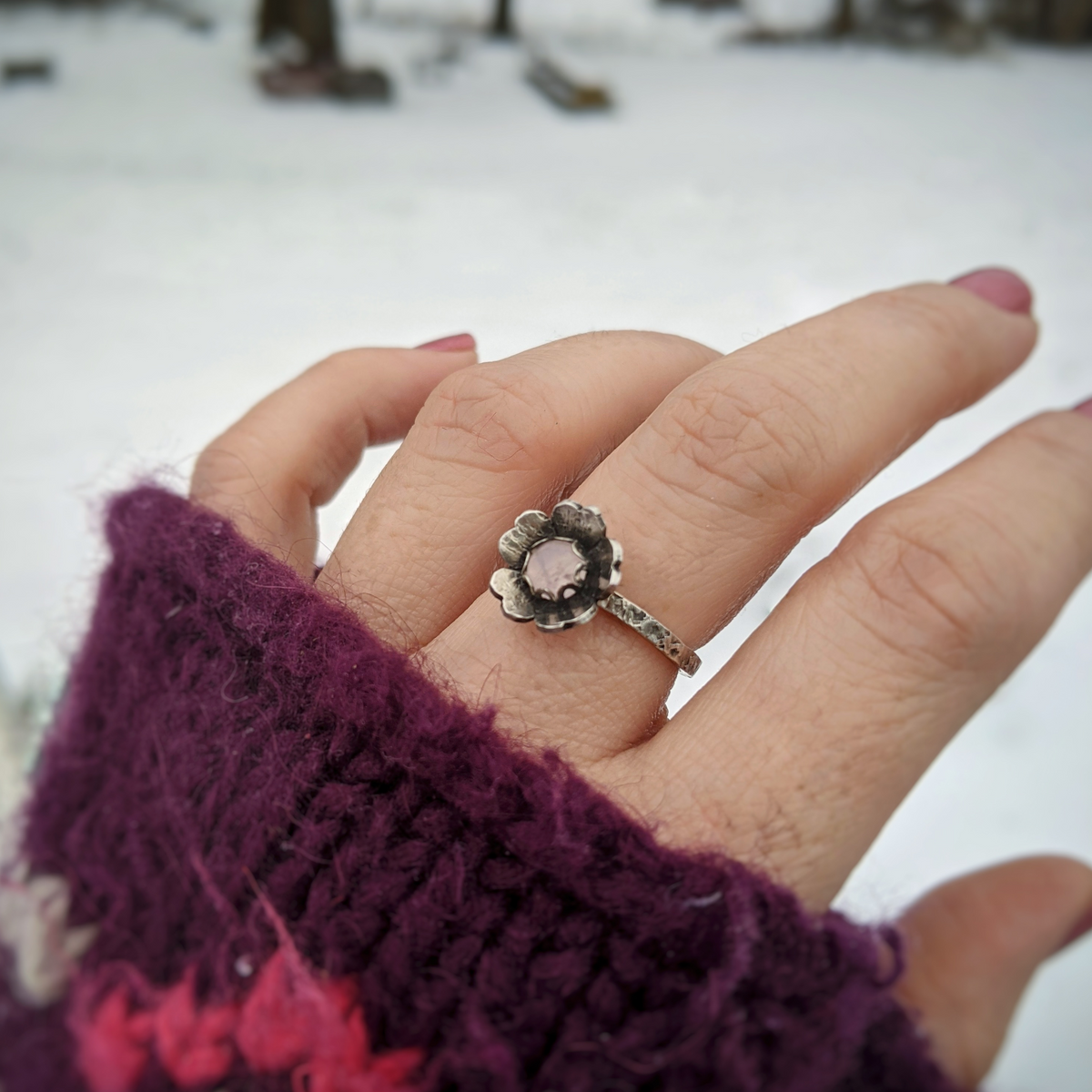 Flower Ring with Rose Quartz