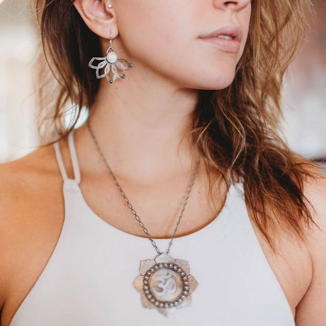 Sterling Silver Lotus and Om Necklace